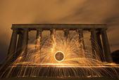 Sparking fire ring on National Monument, Edinburgh, Scotland. — Stock Photo
