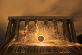 Sparking fire ring on National Monument, Edinburgh, Scotland. — Stock Photo