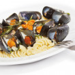 Stock Photo: Seafood fusilli pastclose-up