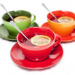 Three colored tea cups — Stock Photo