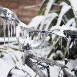 Closeup of ice-covered frozen bike — Stock Photo