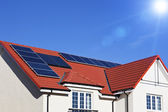 House roof covered with solar panels — Stock Photo