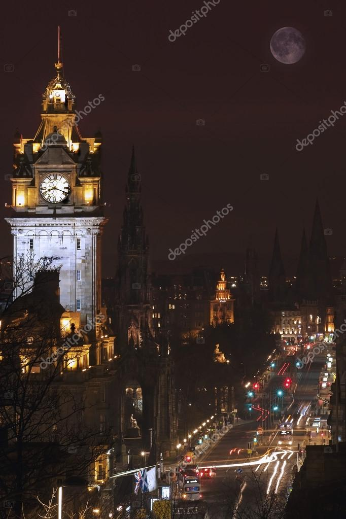 Princess street in Edinburgh at night with full Moon  Stock Photo #16782421