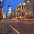 Gediminas Avenue in Vilnius at night — Stock Photo