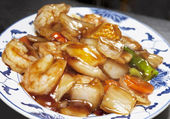 Close-up of seafood chinese dish — Stock Photo
