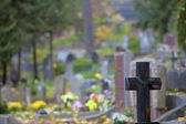Granite cross on Christian cemetery — Stock Photo
