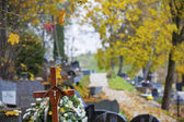 Wooden cross on Christian cemetery — Stock Photo