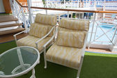 Deckchairs on sundeck of the cruise ship — Stock Photo