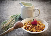 Breakfast meal with cornflakes — Stock Photo