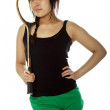 Young Asian woman with a badminton racket — Stock Photo