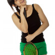 Young Asian woman with a badminton racket — Stock Photo #17663365