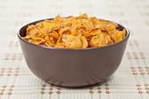 Bowl of crunchy nuts corn flakes for breakfast — Stock Photo