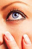 Caucasian girl's blue eye — Stock Photo