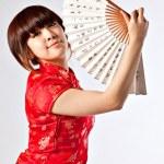 Chiński model sukni tradycyjne qipao — Zdjęcie stockowe #23326844