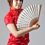 Chinese model in traditional Cheongsam dress — Stock Photo