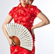 Chinese model in traditional Cheongsam dress — Stock Photo #23639951