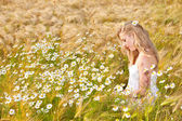 Blond girl on the camomile field — Stock Photo