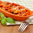 Spicy chicken penne pasta — Stockfoto