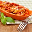 Spicy chicken penne pasta — Stock Photo