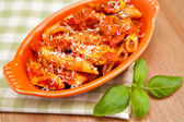 Spicy chicken penne pasta — Stock Photo