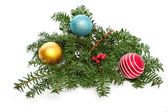 Christmas ornament with spruce branch — Stock Photo