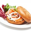 Stock Photo: Salmon Bagel Sandwich