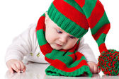 Baby with christmas hat and scarf — Stock Photo