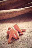 Baby carrots on sackcloth — Stock Photo