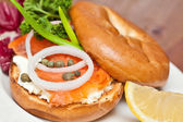 Salmon Bagel Sandwich — Stock Photo