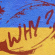 Stock Photo: Ukraine flag painted on old concrete wall with RIOT inscription