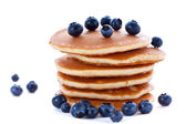 Stack of pancakes with fresh blueberries — Stock Photo
