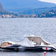 Destroyed piers with boats in Verbania — Stock Photo #51430437