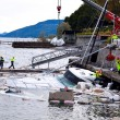 Destroyed piers with boats in Verbania — Stock Photo #51430773