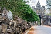 Sculptures of the demons at Bayon Temple, Angkor Wat, Cambodia — Stock Photo