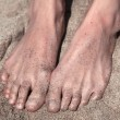 Stock Photo: Two legs in the shallow shining sand