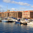 View of the old port of Marseilles and the hills — Stock Photo