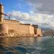 View of the Marseille from the sea, Fort Saint Jean in Marseille - Stock Photo