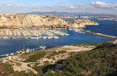 Vista do mar e o porto nas ilhas frioul — Foto Stock