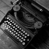 Old cyrillik typewriter — Stock Photo