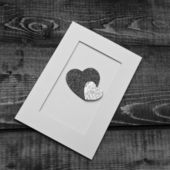 Black-and-white romantic card — Stock Photo