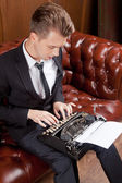 Writer with a typewriter — Stock Photo