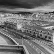 Stock Photo: View of the old port of Marseille, black and white