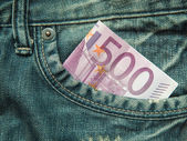500 euro in the pocket of jeans... — Stock Photo