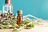 Bottle with aromatic oil and rosemary — Stock Photo