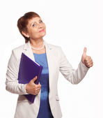 Happy woman 50 years old with a folder for documents — Stock Photo