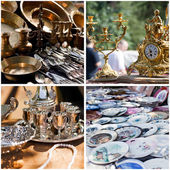 Vintage crockery at a flea market — Stok fotoğraf
