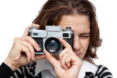 Young woman with vintage camera — Stock Photo