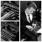 Young writer prints on retro typewriter, monochrome — Stock Photo