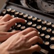 Human hand prints on retro typewriter. — Stockfoto