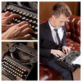 Young writer prints on retro typewriter — Stock Photo
